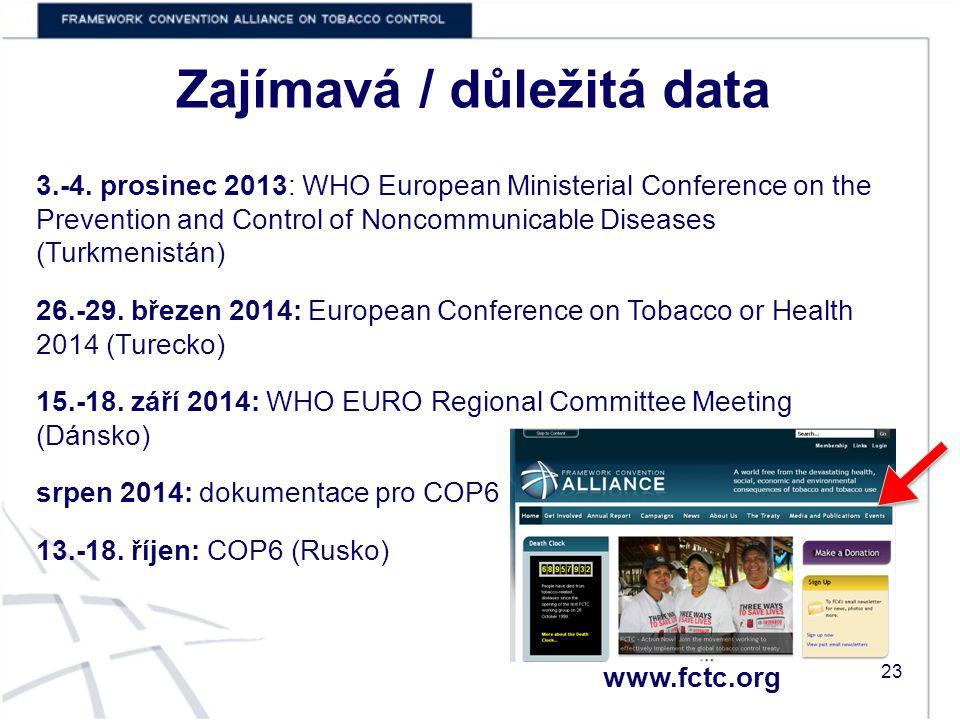 Zajímavá / důležitá data 23 www.fctc.org 3.-4.