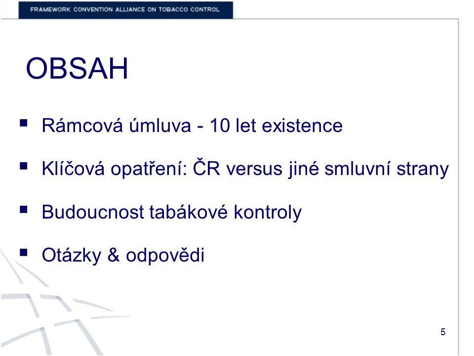 OBSAH  Rámcová úmluva - 10 let existence  Klíčová opatření: ČR versus jiné smluvní strany  Budoucnost tabákové kontroly  Otázky & odpovědi 5