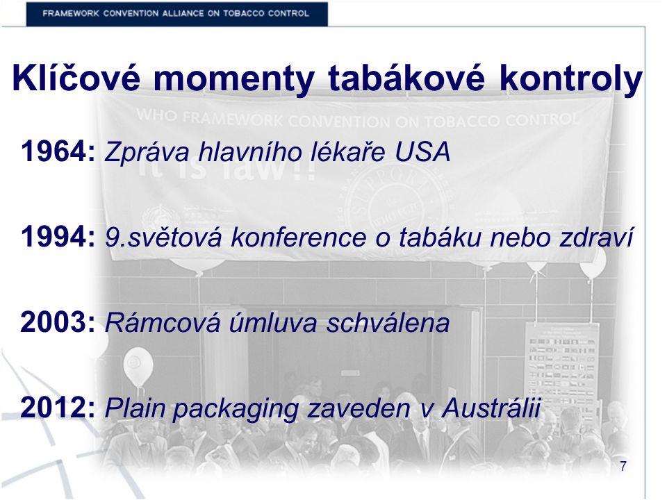 Klíčové momenty tabákové kontroly 1964: Zpráva hlavního lékaře USA 1994: 9.světová konference o tabáku nebo zdraví 2003: Rámcová úmluva schválena 2012: Plain packaging zaveden v Austrálii 7