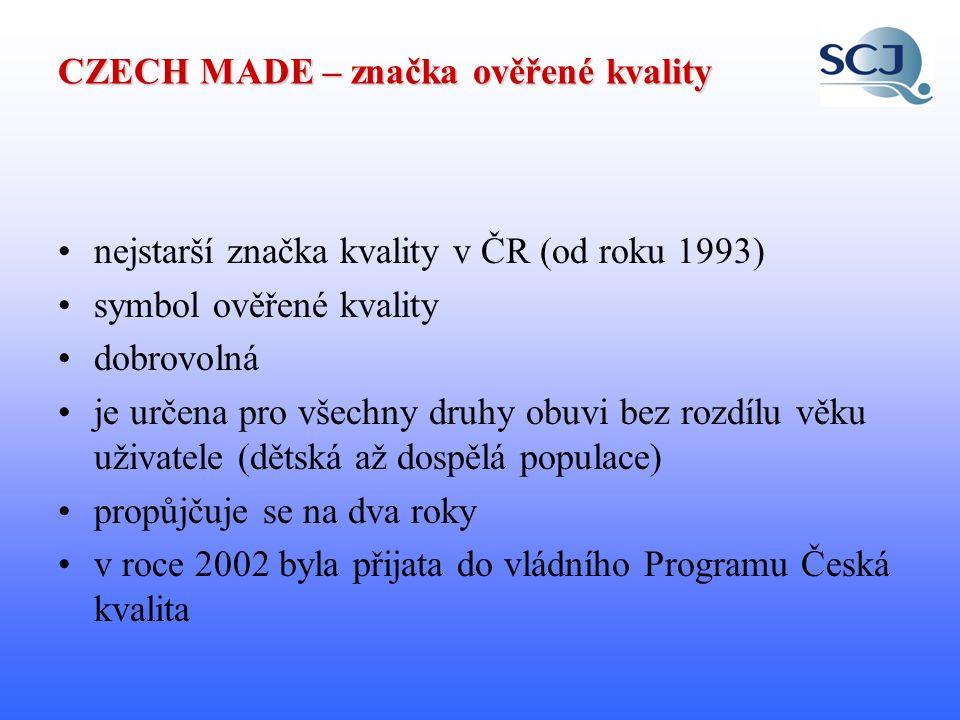 CZECH MADE – značka ověřené kvality Cíle programu: podpora rozvoje průmyslu v ČR zvýšení konkurenceschopnosti výrobků nejen na domácím trhu zvýšení informovanosti zákazníků o nabídce kvalitních výrobků