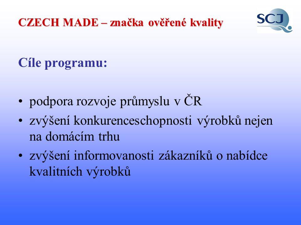 """CZECH MADE – značka ověřené kvality práva a povinnosti všech účastníků jsou uvedeny v dokumentu """"Regulativ systému ověřování kvality výrobků ověření provádí nezávislý inspekční orgán SCJ č."""