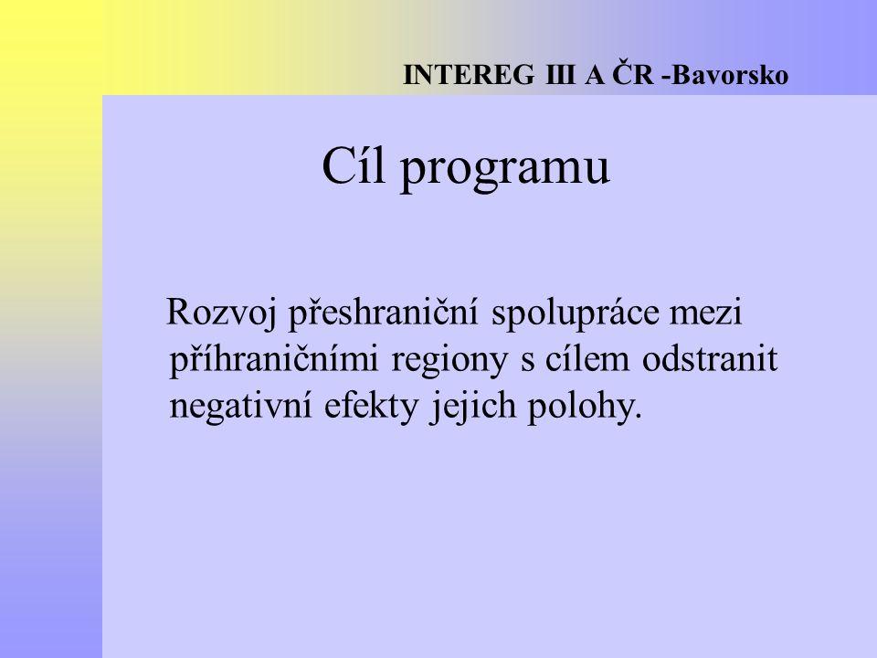 INTEREG III A ČR -Bavorsko Cíl programu Rozvoj přeshraniční spolupráce mezi příhraničními regiony s cílem odstranit negativní efekty jejich polohy.