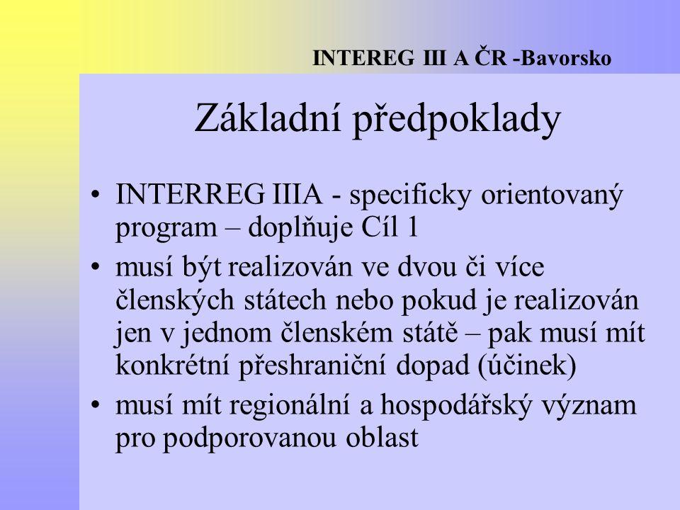 INTEREG III A ČR -Bavorsko Základní předpoklady INTERREG IIIA - specificky orientovaný program – doplňuje Cíl 1 musí být realizován ve dvou či více členských státech nebo pokud je realizován jen v jednom členském státě – pak musí mít konkrétní přeshraniční dopad (účinek) musí mít regionální a hospodářský význam pro podporovanou oblast