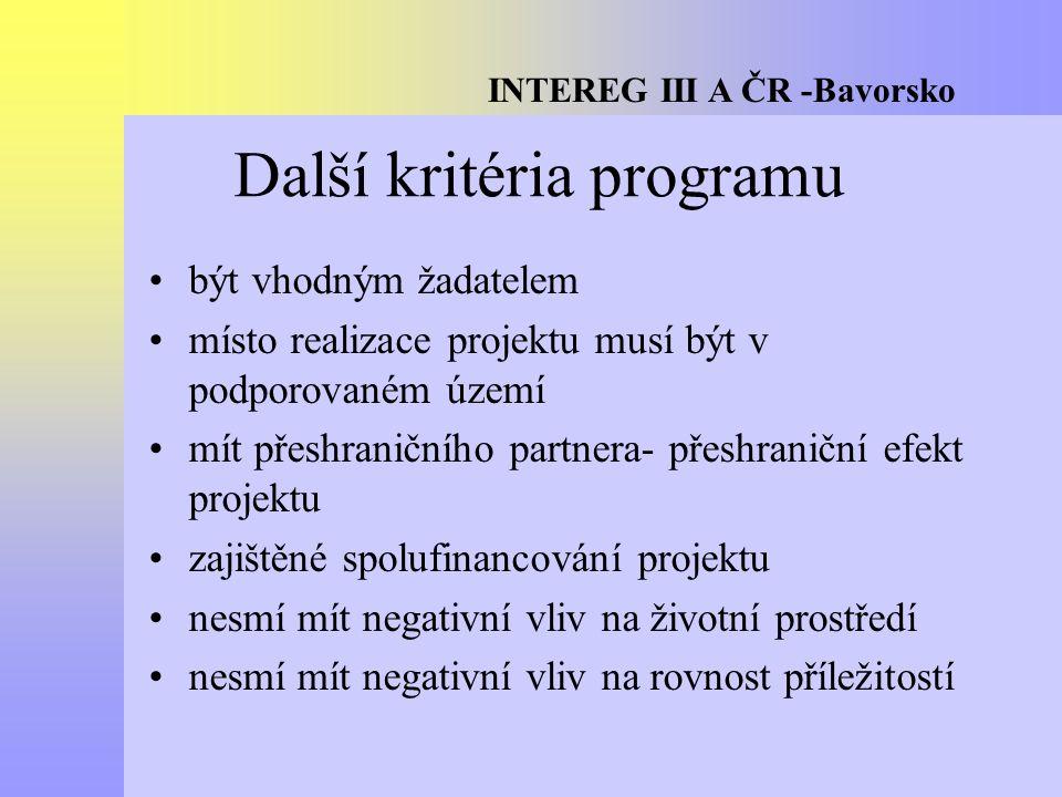 INTEREG III A ČR -Bavorsko Další kritéria programu být vhodným žadatelem místo realizace projektu musí být v podporovaném území mít přeshraničního partnera- přeshraniční efekt projektu zajištěné spolufinancování projektu nesmí mít negativní vliv na životní prostředí nesmí mít negativní vliv na rovnost příležitostí