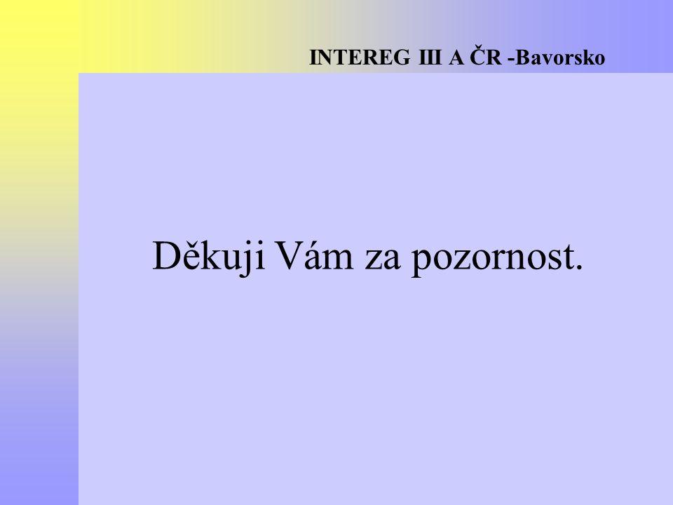 INTEREG III A ČR -Bavorsko Děkuji Vám za pozornost.