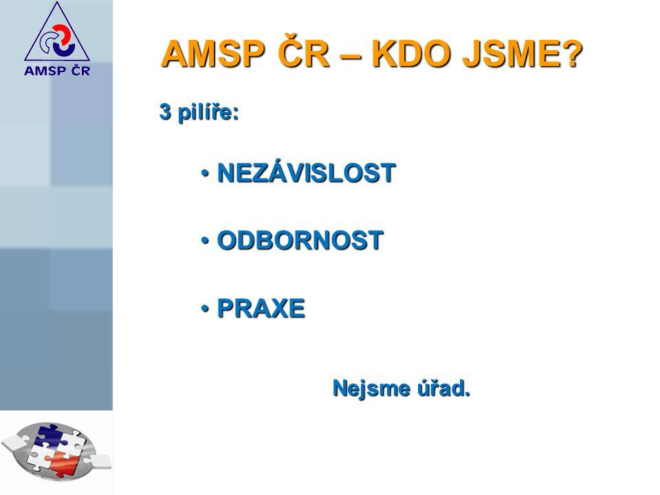 AMSP ČR – KDO JSME 3 pilíře: NEZÁVISLOSTNEZÁVISLOST ODBORNOSTODBORNOST PRAXEPRAXE Nejsme úřad.