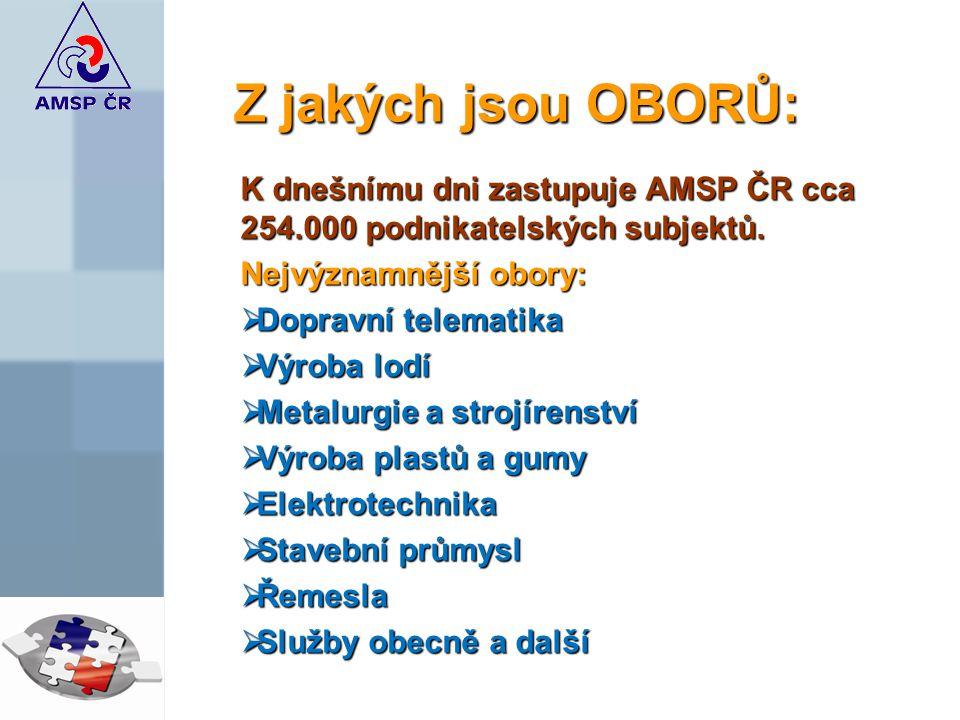 Z jakých jsou OBORŮ: K dnešnímu dni zastupuje AMSP ČR cca 254.000 podnikatelských subjektů.