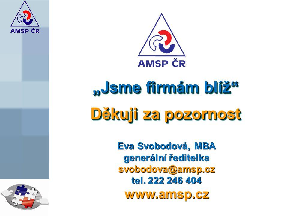 """""""Jsme firmám blíž Děkuji za pozornost """"Jsme firmám blíž Děkuji za pozornost Eva Svobodová, MBA generální ředitelka svobodova@amsp.cz tel."""