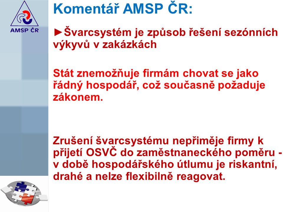 Komentář AMSP ČR: ►Švarcsystém je způsob řešení sezónních výkyvů v zakázkách Stát znemožňuje firmám chovat se jako řádný hospodář, což současně požaduje zákonem.