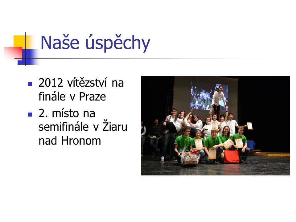Naše úspěchy 2012 vítězství na finále v Praze 2. místo na semifinále v Žiaru nad Hronom