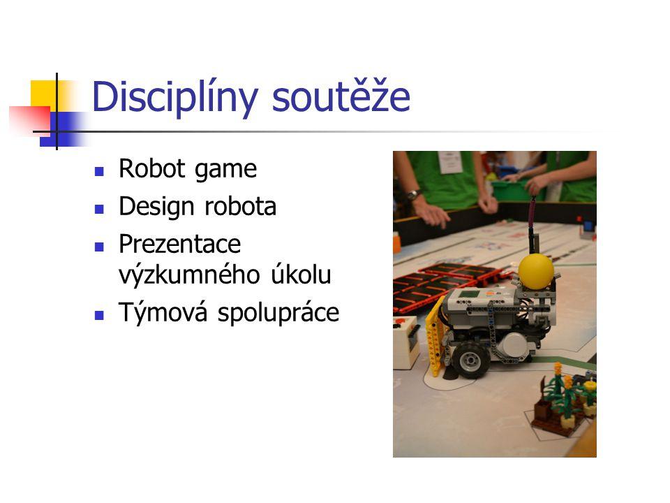 Disciplíny soutěže Robot game Design robota Prezentace výzkumného úkolu Týmová spolupráce
