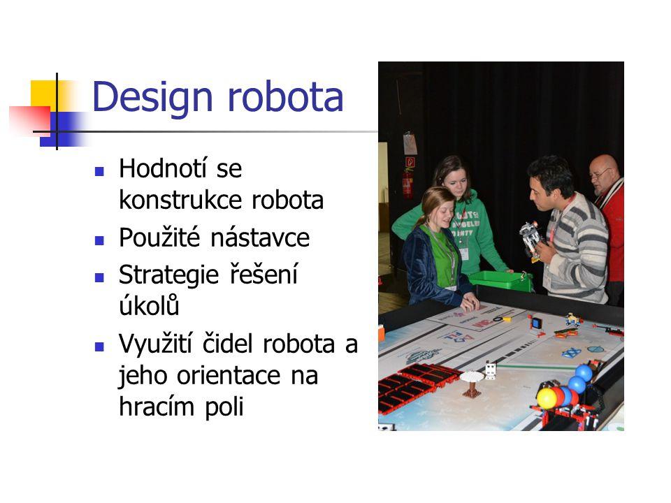 Design robota Hodnotí se konstrukce robota Použité nástavce Strategie řešení úkolů Využití čidel robota a jeho orientace na hracím poli
