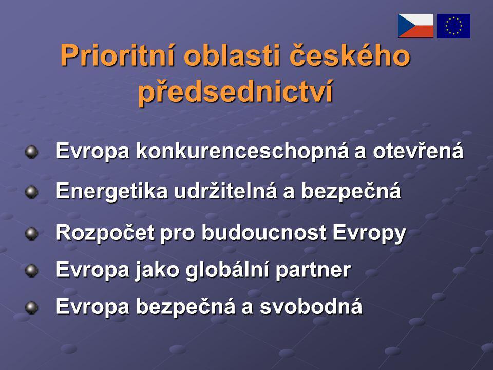 Prioritní oblasti českého předsednictví Evropa konkurenceschopná a otevřená Energetika udržitelná a bezpečná Rozpočet pro budoucnost Evropy Evropa jak