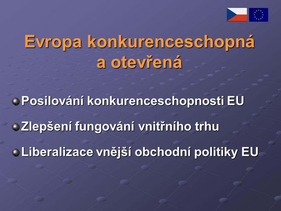 Evropa konkurenceschopná a otevřená Posilování konkurenceschopnosti EU Zlepšení fungování vnitřního trhu Liberalizace vnější obchodní politiky EU