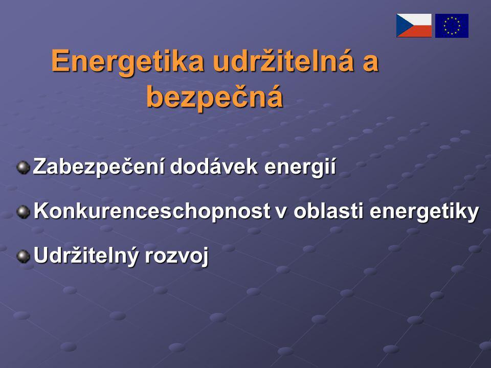 Energetika udržitelná a bezpečná Zabezpečení dodávek energií Konkurenceschopnost v oblasti energetiky Udržitelný rozvoj