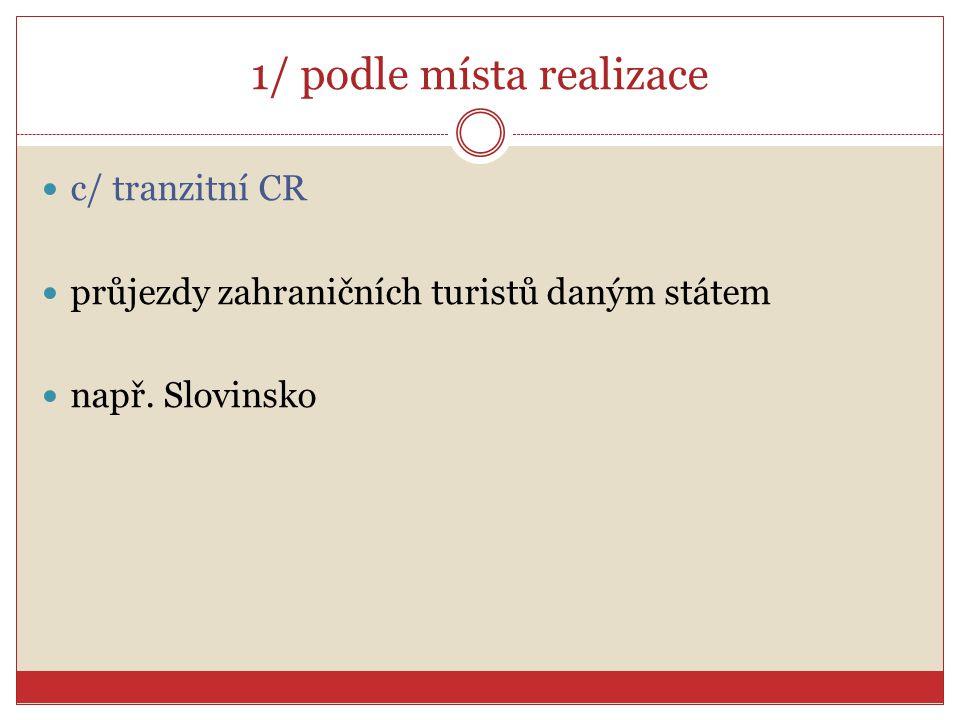 1/ podle místa realizace c/ tranzitní CR průjezdy zahraničních turistů daným státem např. Slovinsko