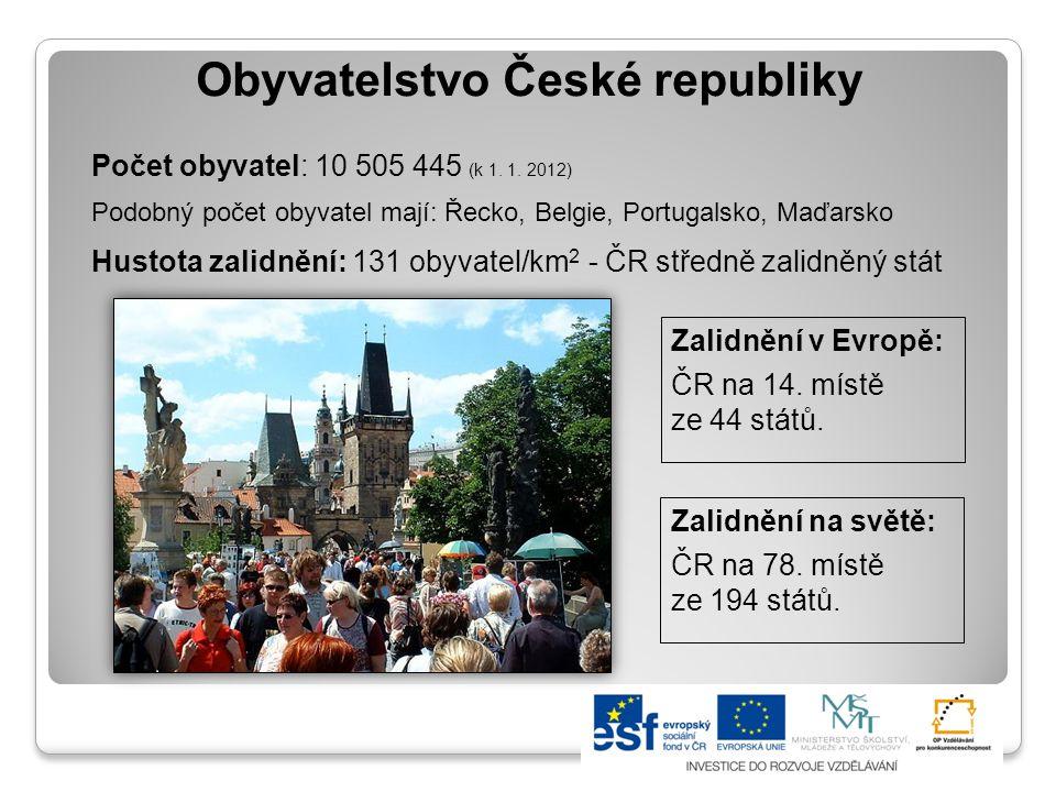 Vývoj počtu obyvatel ČR Je dán počty narozených, zemřelých, přistěhovalých a vystěhovalých.
