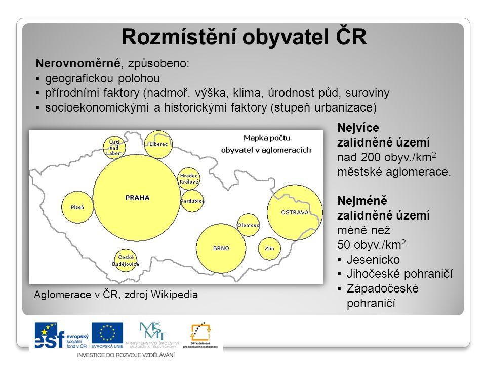 Rozmístění obyvatel ČR Nerovnoměrné, způsobeno: ▪geografickou polohou ▪přírodními faktory (nadmoř. výška, klima, úrodnost půd, suroviny ▪socioekonomic