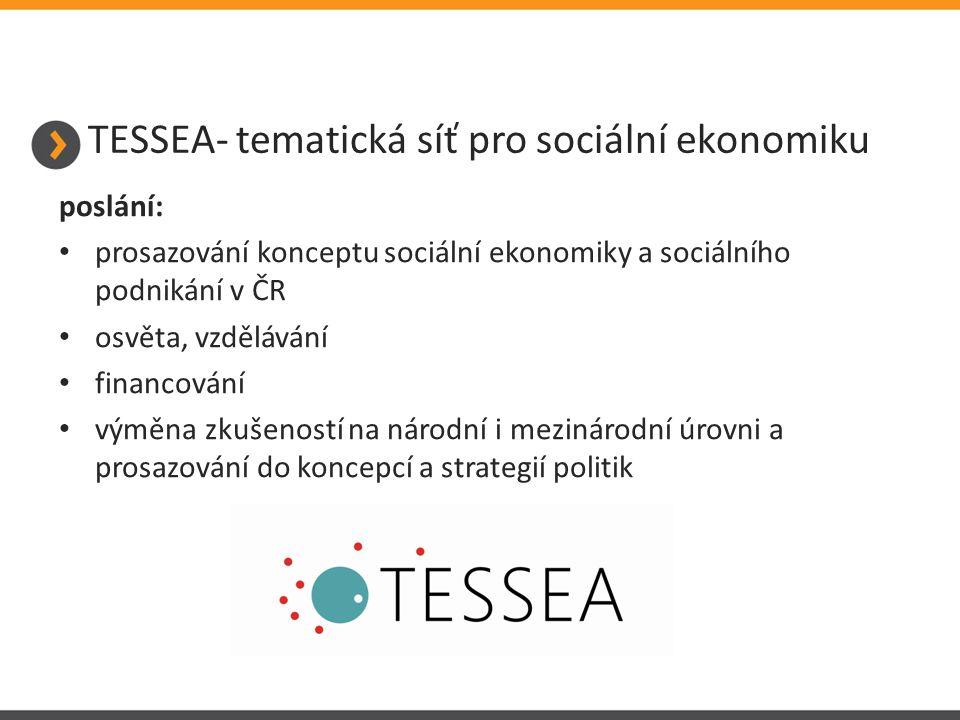 TESSEA- tematická síť pro sociální ekonomiku poslání: prosazování konceptu sociální ekonomiky a sociálního podnikání v ČR osvěta, vzdělávání financování výměna zkušeností na národní i mezinárodní úrovni a prosazování do koncepcí a strategií politik