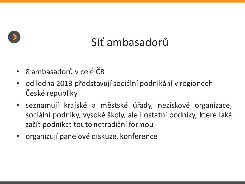 Síť ambasadorů 8 ambasadorů v celé ČR od ledna 2013 představují sociální podnikání v regionech České republiky seznamují krajské a městské úřady, neziskové organizace, sociální podniky, vysoké školy, ale i ostatní podniky, které láká začít podnikat touto netradiční formou organizují panelové diskuze, konference