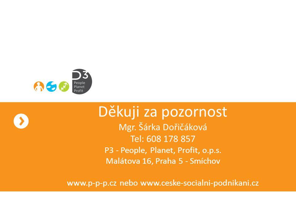 Děkuji za pozornost Mgr.Šárka Dořičáková Tel: 608 178 857 P3 - People, Planet, Profit, o.p.s.