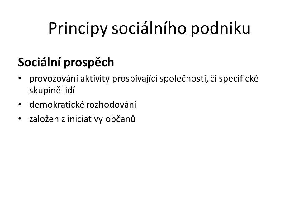 Principy sociálního podniku Sociální prospěch provozování aktivity prospívající společnosti, či specifické skupině lidí demokratické rozhodování založen z iniciativy občanů