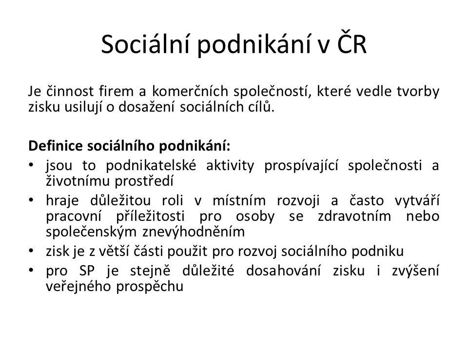 Sociální podnikání v ČR Je činnost firem a komerčních společností, které vedle tvorby zisku usilují o dosažení sociálních cílů.