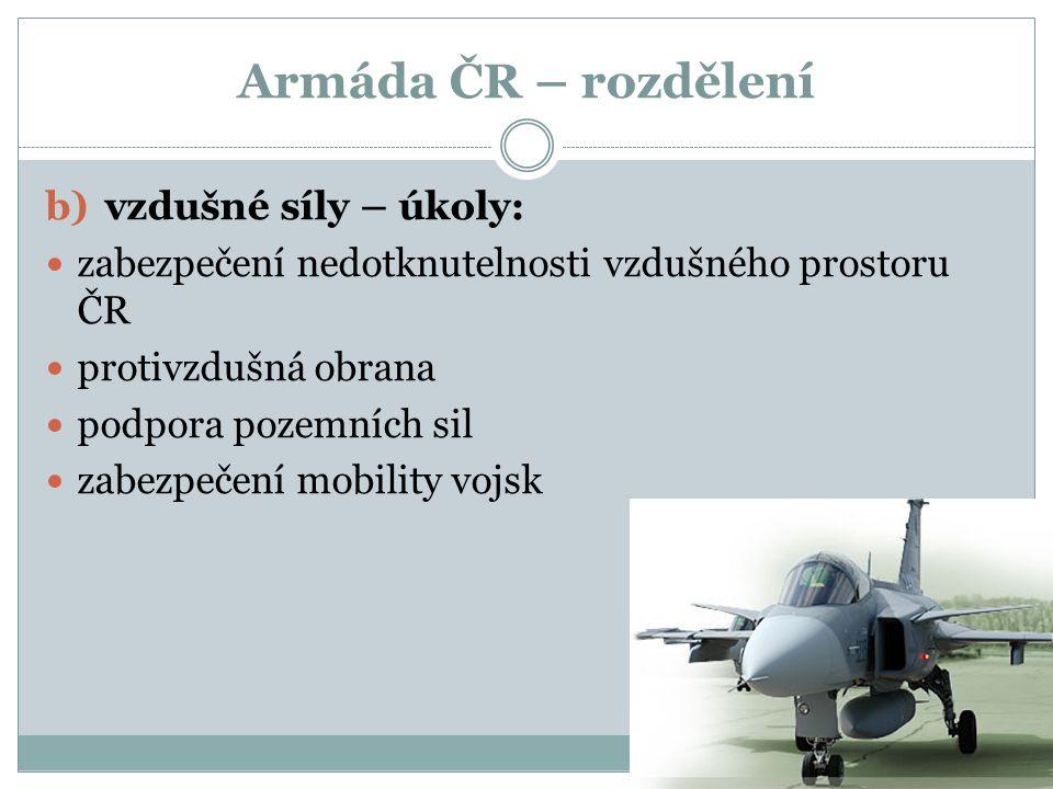 Armáda ČR – rozdělení b)vzdušné síly – úkoly: zabezpečení nedotknutelnosti vzdušného prostoru ČR protivzdušná obrana podpora pozemních sil zabezpečení