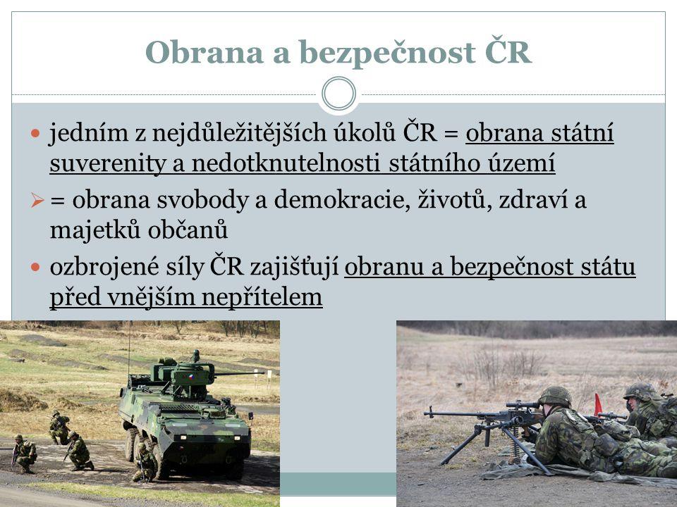 Obrana a bezpečnost ČR jedním z nejdůležitějších úkolů ČR = obrana státní suverenity a nedotknutelnosti státního území  = obrana svobody a demokracie