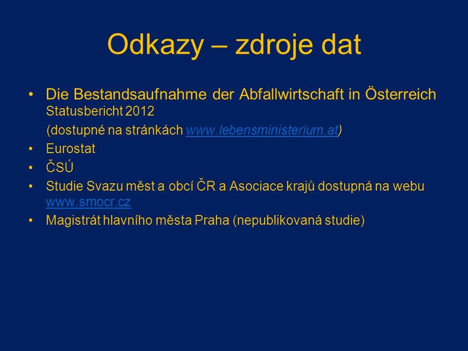 Odkazy – zdroje dat Die Bestandsaufnahme der Abfallwirtschaft in Österreich Statusbericht 2012 (dostupné na stránkách www.lebensministerium.at)www.leb