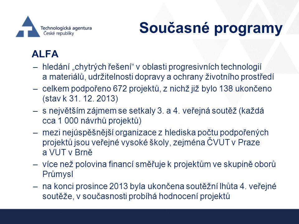 """Současné programy ALFA –hledání """"chytrých řešení"""" v oblasti progresivních technologií a materiálů, udržitelnosti dopravy a ochrany životního prostředí"""