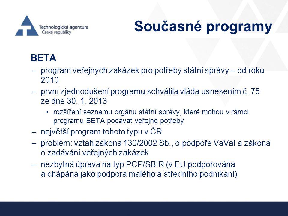 Současné programy BETA –program veřejných zakázek pro potřeby státní správy – od roku 2010 –první zjednodušení programu schválila vláda usnesením č. 7