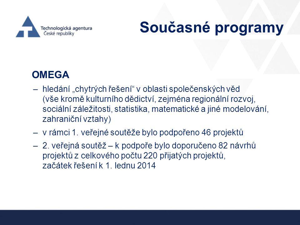"""Současné programy OMEGA –hledání """"chytrých řešení"""" v oblasti společenských věd (vše kromě kulturního dědictví, zejména regionální rozvoj, sociální zál"""