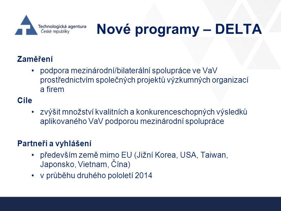 Nové programy – DELTA Zaměření podpora mezinárodní/bilaterální spolupráce ve VaV prostřednictvím společných projektů výzkumných organizací a firem Cíl