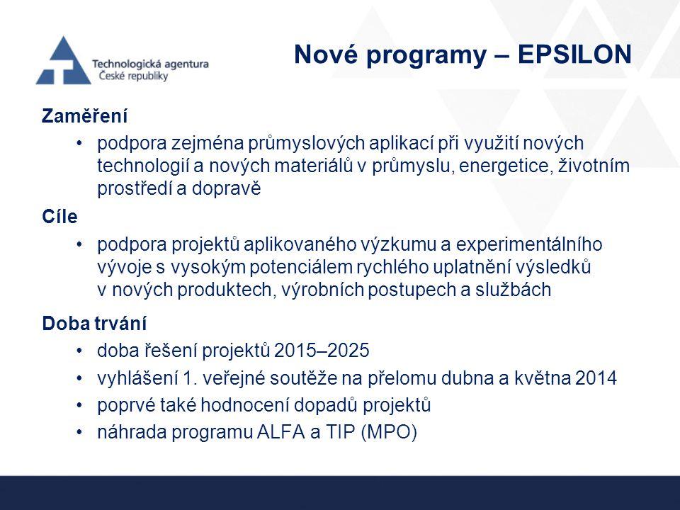 Nové programy – EPSILON Zaměření podpora zejména průmyslových aplikací při využití nových technologií a nových materiálů v průmyslu, energetice, život