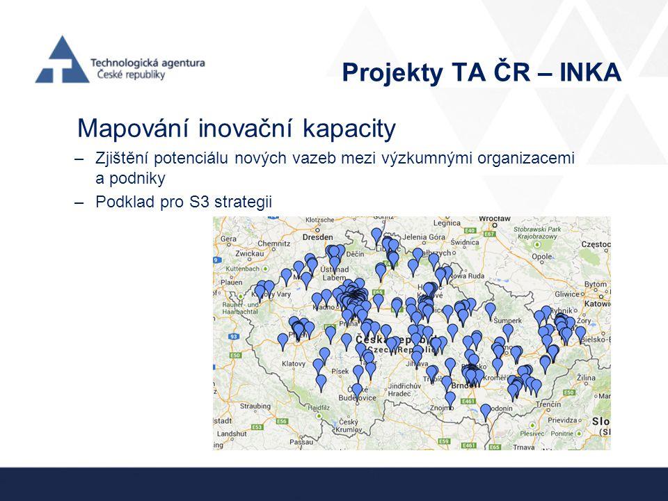 Projekty TA ČR – INKA Mapování inovační kapacity –Zjištění potenciálu nových vazeb mezi výzkumnými organizacemi a podniky –Podklad pro S3 strategii