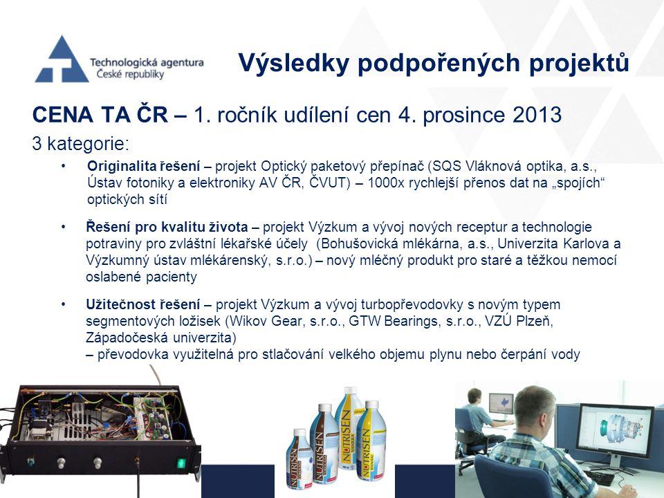 Výsledky podpořených projektů CENA TA ČR – 1. ročník udílení cen 4. prosince 2013 3 kategorie: Originalita řešení – projekt Optický paketový přepínač