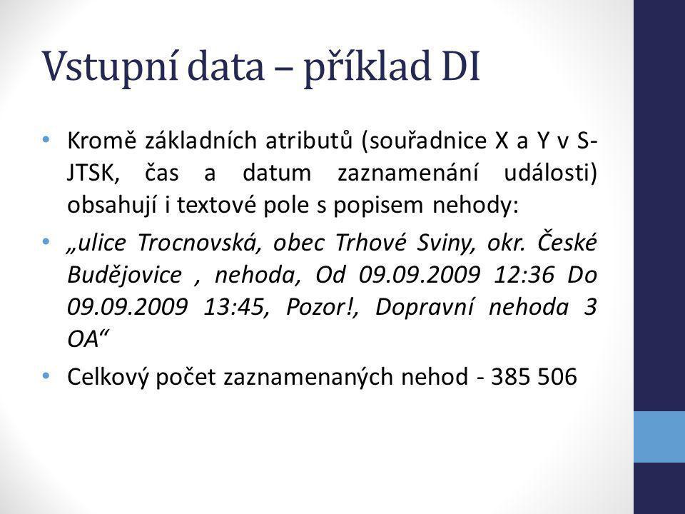 Vstupní data – příklad DI Kromě základních atributů (souřadnice X a Y v S- JTSK, čas a datum zaznamenání události) obsahují i textové pole s popisem n