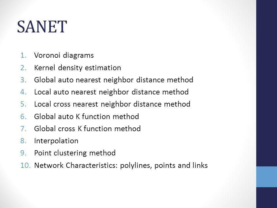 SANET 1.Voronoi diagrams 2.Kernel density estimation 3.Global auto nearest neighbor distance method 4.Local auto nearest neighbor distance method 5.Local cross nearest neighbor distance method 6.Global auto K function method 7.Global cross K function method 8.Interpolation 9.Point clustering method 10.Network Characteristics: polylines, points and links