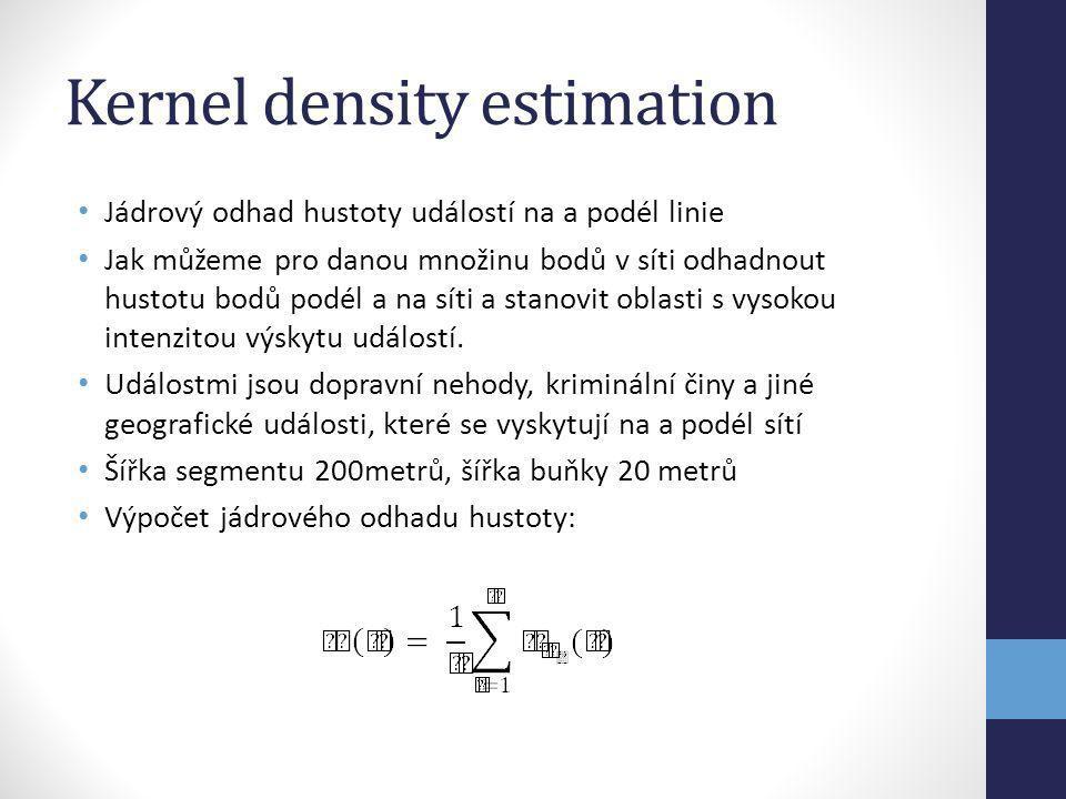 Kernel density estimation Jádrový odhad hustoty událostí na a podél linie Jak můžeme pro danou množinu bodů v síti odhadnout hustotu bodů podél a na s