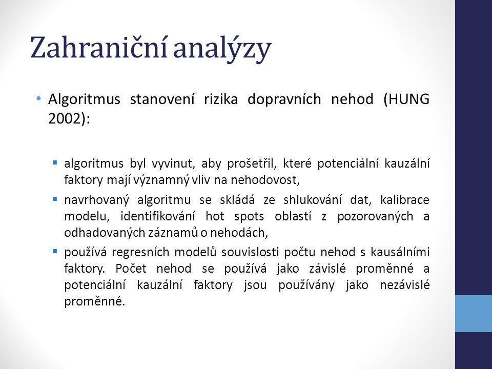 Zahraniční analýzy Algoritmus stanovení rizika dopravních nehod (HUNG 2002):  algoritmus byl vyvinut, aby prošetřil, které potenciální kauzální fakto
