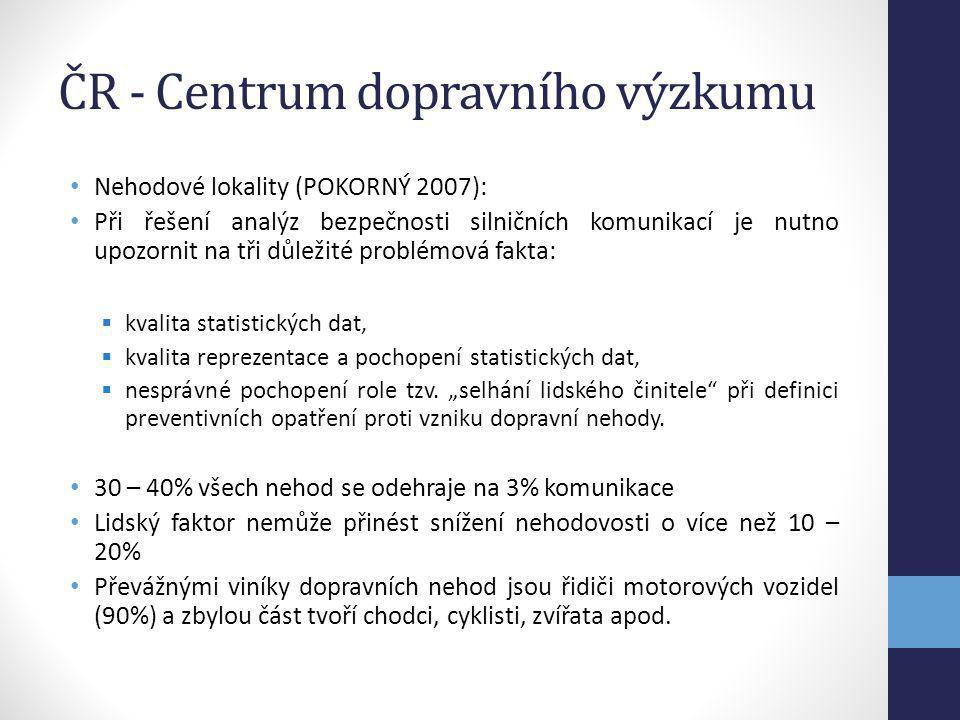 ČR - Centrum dopravního výzkumu Nehodové lokality (POKORNÝ 2007): Při řešení analýz bezpečnosti silničních komunikací je nutno upozornit na tři důleži