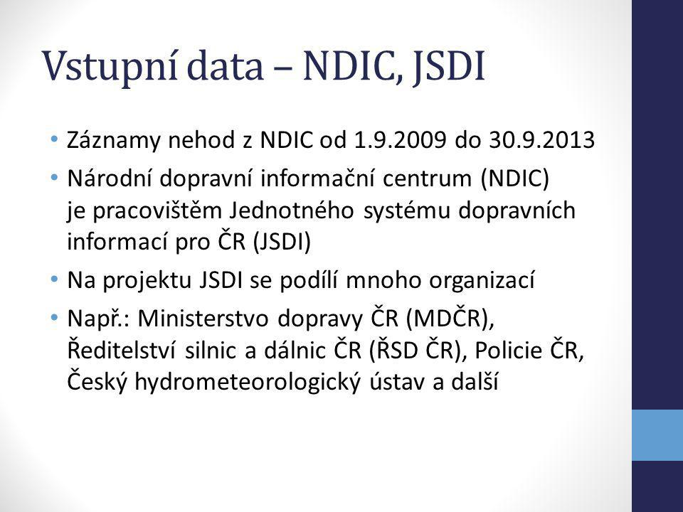 Vstupní data – NDIC, JSDI Záznamy nehod z NDIC od 1.9.2009 do 30.9.2013 Národní dopravní informační centrum (NDIC) je pracovištěm Jednotného systému d