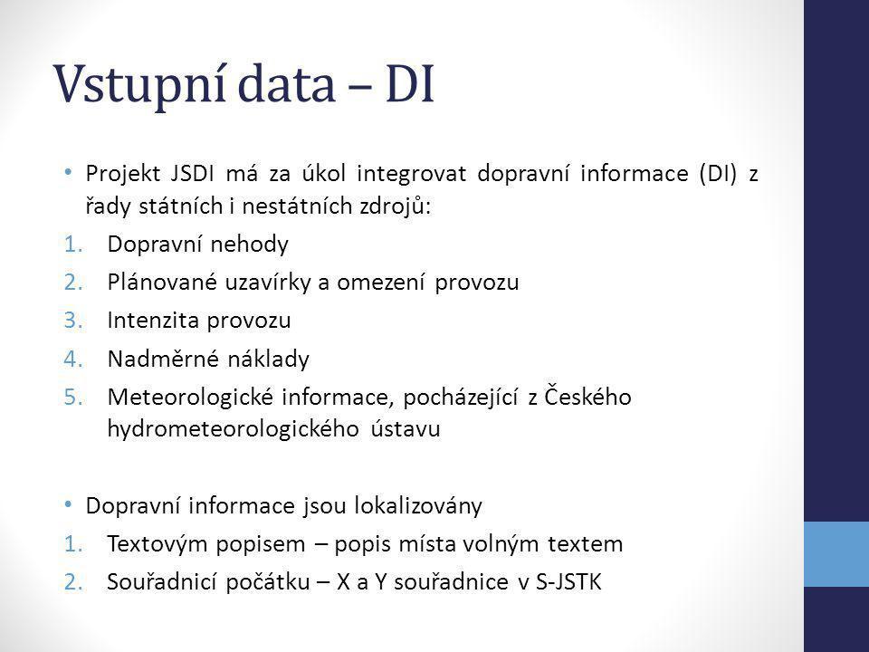 Vstupní data – DI Projekt JSDI má za úkol integrovat dopravní informace (DI) z řady státních i nestátních zdrojů: 1.Dopravní nehody 2.Plánované uzavír