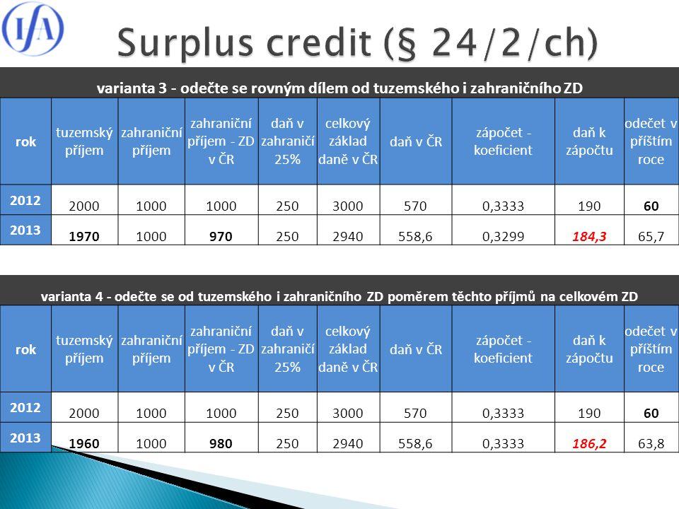 varianta 3 - odečte se rovným dílem od tuzemského i zahraničního ZD rok tuzemský příjem zahraniční příjem zahraniční příjem - ZD v ČR daň v zahraničí