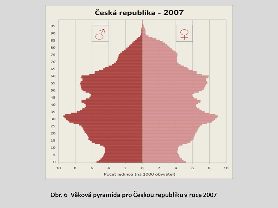 Obr. 6 Věková pyramida pro Českou republiku v roce 2007