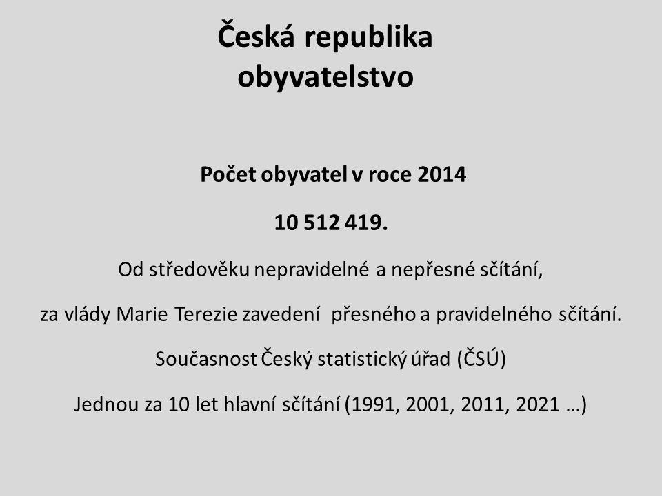 Česká republika obyvatelstvo Počet obyvatel v roce 2014 10 512 419. Od středověku nepravidelné a nepřesné sčítání, za vlády Marie Terezie zavedení pře
