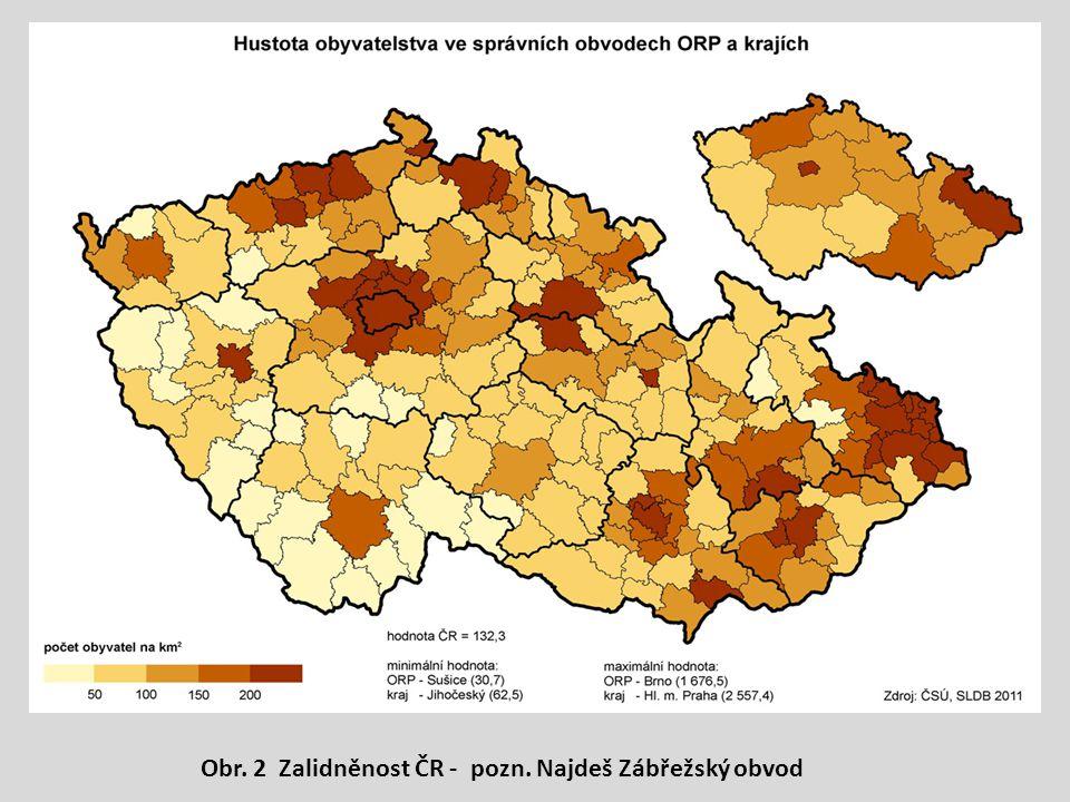 Obr. 2 Zalidněnost ČR - pozn. Najdeš Zábřežský obvod