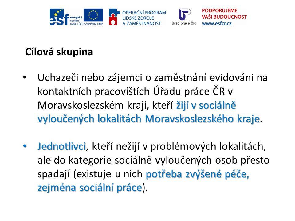 Cílová skupina žijí v sociálně vyloučených lokalitách Moravskoslezského kraje Uchazeči nebo zájemci o zaměstnání evidováni na kontaktních pracovištích
