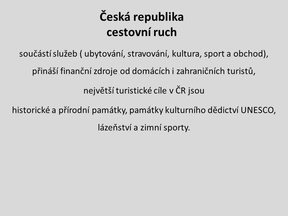 Česká republika cestovní ruch součástí služeb ( ubytování, stravování, kultura, sport a obchod), přináší finanční zdroje od domácích i zahraničních turistů, největší turistické cíle v ČR jsou historické a přírodní památky, památky kulturního dědictví UNESCO, lázeňství a zimní sporty.